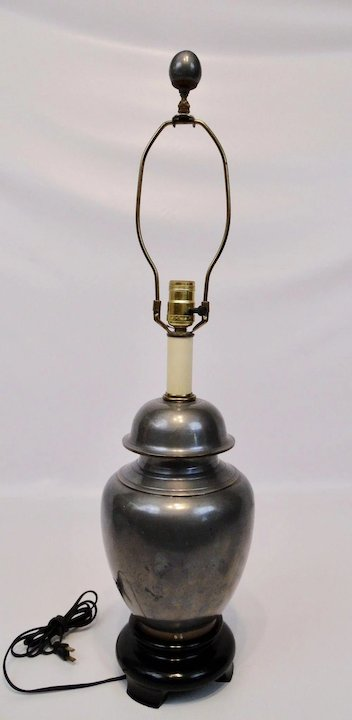Pewter Brass Ginger Jar Table Lamp Chapman Manufacturing Company