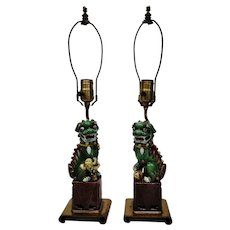 Chinese Foo Dogs Lions Figural Table Dresser Lamps Pair