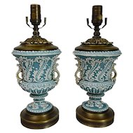 Moriage Ware Urn Lamps Japanese Nippon Teal Blue Pair
