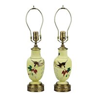 Pair Yellow Satin Glass Table Dresser Lamps Hand Painted Bird Motif Gilt Details