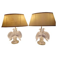 Lalique Crystal Ariane Table Dresser Lamps Doves Pair