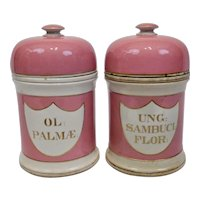 English Staffordshire Pearlware Pottery Pink Medical Apothecary Jars Pair