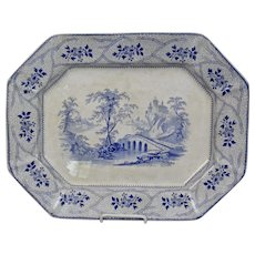 Blue Transfer Ware Platter Seine Pattern by J. Wedgwood Ironstone England