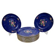 Cauldon China Dinner Plates Vibrant Colored Floral Motif Blue Background Set Of 12