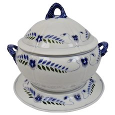 Bing & Grondahl Covered Tureen Platter Seahorse Blue & Pink Floral Motif