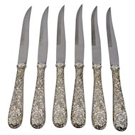 Sterling Handled Steak Knives Repousse Pattern Kirk And Son Set Of 6