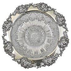 Tiffany and Company American Brilliant Cut Crystal Dish Sterling Silver Rim