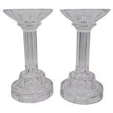 Pressed Clear Glass Column Centerpiece Stands Pair 10 Inches Tall