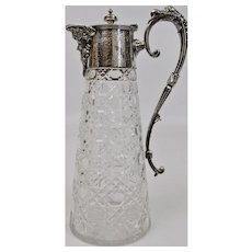 Cut Glass Ewer Pitcher Silver Plate Fine Details