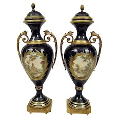 Sevres Style Porcelain Urns Hand Painted Panel Scenes Gilding Ormolu Mounts Pair