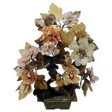 Flowering Tree Made of Jadeite Pink Quartz Carnelian Hard Stone Chinese