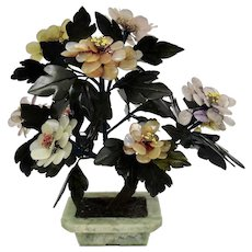 Flowering Tree Made of Jadeite Pink Quartz Carnelian Hard Stone Chinese