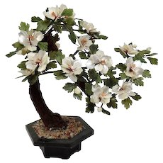 Flowering Bonsai Tree Made Of Jadeite Shell Coral Chinese