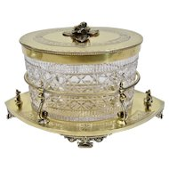 Cut Glass Covered Biscuit Box Gold Toned Metal Stand Fine Engraving