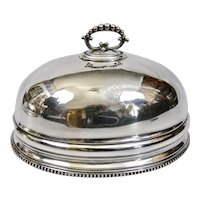 Small Old Sheffield Silver Plated Platter Food Dome English Engraved Coat Of Arms