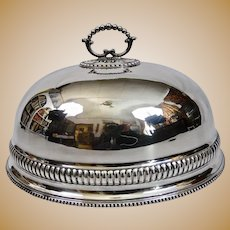 Large Old Sheffield Silver Plated Platter Food Dome English
