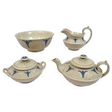 Tea Set Smear Glazed Ware C.1850 W. Hackwood And Son New Hall Pottery