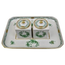 Herend Porcelain Double Inkwell Apponyi Green Chinese Bouquet Pattern