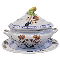 Covered Tureen And Platter Cantagalli Firenze Italian Faience Fruit Floral Motif