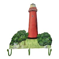 Jupiter Florida Lighthouse Hand Painted Metal Wall Hanging Hooks
