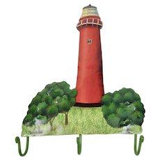 Jupiter Florida Lighthouse Hand Painted Metal Wall Hanging Hooks