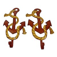 Anchor Rope Nautical Hooks Wall Hanging Hand Painted Details Metal Pair