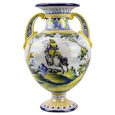 Large Faience Tin Glazed Handled Vase Talavera de la Reina Pottery Emilio Niveiro Hunting Scene