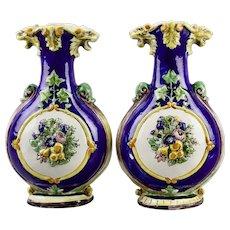 Pair Large Faience Vases Tin Glaze Pottery Floral Fruit Lion Heads Motif