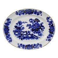 Flow Blue Transfer Ware Oval Platter Yedo Pattern Gilded Details Ashworth Brothers Staffordshire England c.1880's