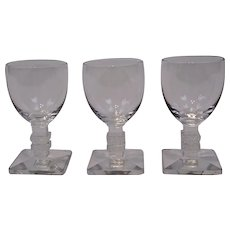 Lalique France Crystal Cordial Glasses Argos Pattern Set of Three
