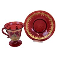Venetian Ruby Red Glass Footed Cup Saucer Enameled Forms Gilding