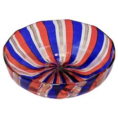 Venetian Glass Bowl Red Blue Copper Striped Form