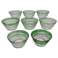 Pairpoint Glass Bowls Green Flashed Cut Back Clear Set of Eight