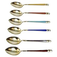 Demitasse Spoons Vermeil Sterling Silver Multi Color Enamel Norwegian Clement Berg