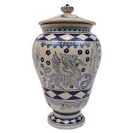 Deruta Pottery Apothecary Urn Adonis Vernalis Blue On White Italy