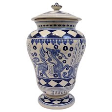Deruta Pottery Apothecary Urn Jar Adonis Vernalis Blue On White Italy