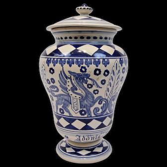 Deruta Pottery Apothecary Urn Jar Adonis Vernalis Blue On White Italy