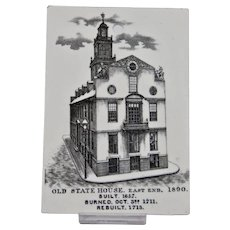 Wedgwood Calendar Tile Black White Old State House Jones McDuffee & Stratton Boston Year 1890