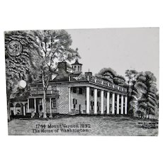 Wedgwood Calendar Tile Black White Mount Vernon Home Of Washington Jones McDuffee & Stratton Boston Year 1892