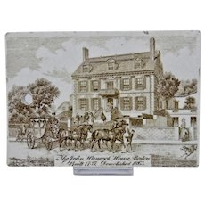Wedgwood Calendar Tile c.1900 Brown White The John Hancock House Jones McDuffee & Stratton Boston