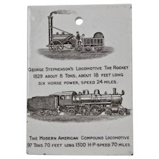 Wedgwood Calendar Tile 1905 Black George Stephenson's Locomotive The Rocket 1829 Jones McDuffee Stratton Boston