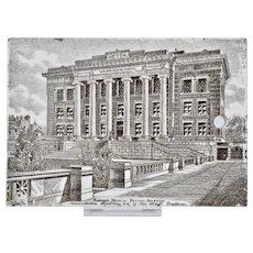 Wedgwood Calendar Tile 1908 Black White Harvard Medical School Boston Jones McDuffee & Stratton