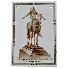 Wedgwood Calendar Tile 1924 Brown White The Appeal To The Great Spirit Boston Mass Jones McDuffee & Stratton