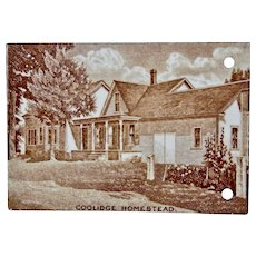 Wedgwood Calendar Tile 1926 Brown White Coolidge Homestead Jones McDuffee & Stratton Boston