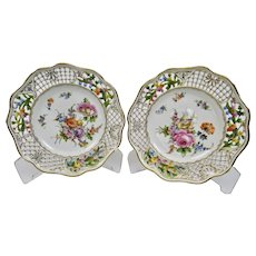 Carl Thieme Dresden Reticulated Plates Set 7 Unique Floral Motifs Gilding