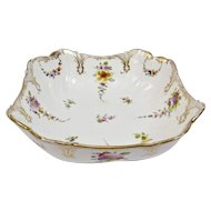 Richard Klemm Dresden Bowl Fine Hand Painted Floral Motif And Gilding