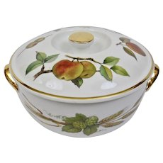 Royal Worcester Evesham Pattern Covered Casserole Fruit Vegetable Motif Gilding
