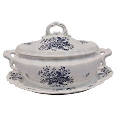 Royal Worcester Blue Sprays Covered Tureen And Under Platter Floral Motif