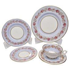Royal Worcester White Grapes Pink Vine Aqua Blue Fine Gilding 5 Piece Place Setting Z2171