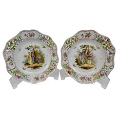 Dresden Reticulated Porcelain Plates Hand Painted Floral And Figural Scene Pair